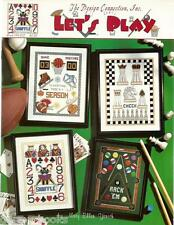 Let's Play Design Connection Cross Stitch Patterns Poker Chess Pool Sports NEW