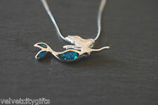 """Cute Unusual Solid Silver Mythical Fairy Mermaid Pendant Opal Necklace Gift 18"""""""