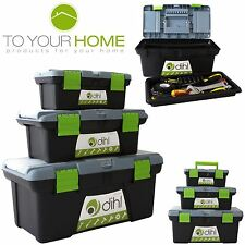 3pc Plastic Chest Tool Box Set DIY Compartment Storage Toolbox Bag Handle & Tray