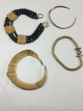 Lot of 4 Vintage Choker Necklaces Gold Tone Costume Jewelry