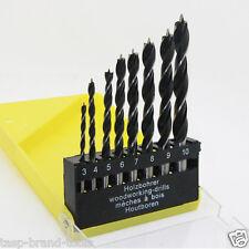 8pc 3 4 5 6 7 8 9 10mm Brad Point Wood Twist Drill Bit Set for Woodworking Tools