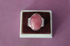 925 Silver Ring With Rhodonite 8.6 Gr. 2x1.5 Cm.Wide size K- L12 - N12 - P - R