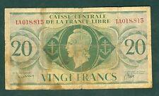 CAISSE CENTRALE DE LA FRANCE LIBRE 20 FRANCS    ETAT / TB-   lot 68