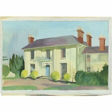 Original Retro Vintage Georgian Country House Architectural Watercolour Painting