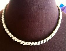 Vintage Fine Jewelry  Sterling Silver Cubic Zirconia CZ Necklace Prong Set