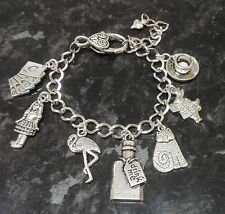 Handmade Alice in Wonderland Inspired Loaded Charm Bracelet Drink Me Bottle
