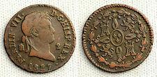 VARIANTE FERNANDO VII 2 MARAVEDIS 1827 SIN PUNTO ENTRE HISP Y REX MUY RARA