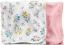 "Carter's Baby Girl 2 Pack Swaddle Blankets ~ Floral & Stripes ~ 35"" x 35"""