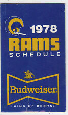 1978 BUDWEISER BEER LOS ANGELES RAMS POCKET SCHEDULE SKED KMPC RADIO VERSION