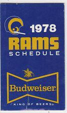 1978 BUDWEISER BEER LOS ANGELES RAMS POCKET SCHEDULE SKED KMPC RADIO VERSION