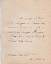 1900 Faire-part mariage Henri GAULDRÉE BOILEAU de LACAZE & Henriette de GORSSE.