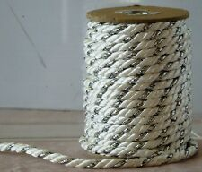 53 ft Rope CORD TRIM Crafts BRIDAL Home PILLOWS Costumes SEWING White & Silver ¼