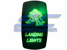 UTV Rocker Switch Green Led On Off Landing Light Toggle Square 5 prong Dune Sand