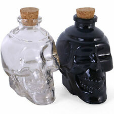 Pair Of Skulls Corked Glass Bottles Decanter Vodka Wine Whisky Halloween Scary