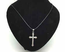 Fashion Stainless Steel White Rhinestone Cross Pendant Black Necklace Gift New#1