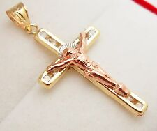 10k Tri Color Gold Cross Charm Crucifix Pendant