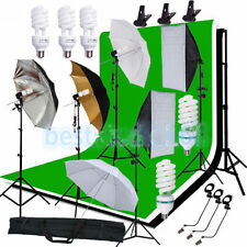 Photography Studio Backdrop Softbox Umbrella Lighting Kit Background Stand Set @