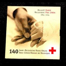 COFFRET FDC EURO BELGIQUE 2004 CROIX ROUGE 8 PIECES + MEDAILLE ARGENT KMS