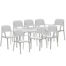 Nardi tavolo Libeccio allungabile 220 + 6 sedie Bora bracciolo resina bianco