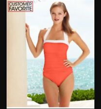 NWOT Lauren By Ralph Lauren  One Peace Swim Suit SZ 4 Orange Halter