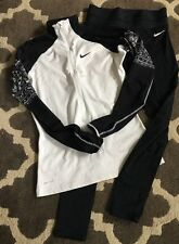 NIKE PRO DriFit Outfit compression leggings 1/4 Zip Shirt Medium M Thumb Holes