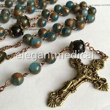 Football STONE bead & Gold Black Obsidian Catholic Rosary Vintage Cross Necklace
