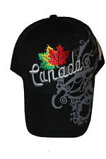 CANADA BLACK WITH VIGNETTE 3 COLORED LEAFS EMBOSSED HAT CAP .. NEW