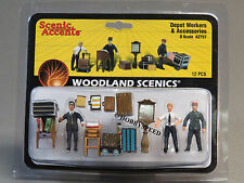 WOODLAND SCENICS DEPOT WORKERS ACCESSORIES o gauge train figures people WDS2757