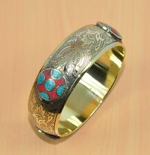 FREE SHIP 925 TIBETAN SILVER & BRASS RED CORAL,TURQUOISE CLASSIC BANGLE G06397