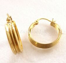 Women New Fashion 18K Yellow Gold Plated Shiny 23mm Hoops Earrings Xmas Birthday