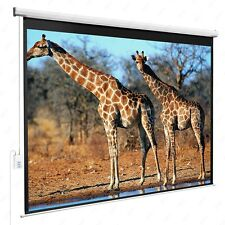 100''Projection 4:3 White Screen Electric Remote Control HD Movie Theater Matte