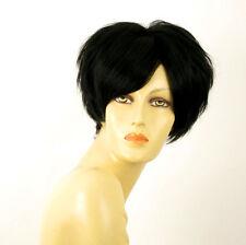 perruque femme 100% cheveux naturel courte noir ref AMANDINE 1b