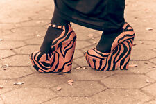 ZARA WOMAN TIGER PONYSKIN WEDGE PLATFORM BLOGGERS HEELS 3 36!