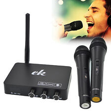 PROFESSIONAL FM/VHF CORDLESS WIRELESS HANDHELD 2 MIC MICROPHONE KARAOKE KIT SET