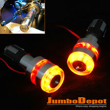Universal 7/8'' Motorcycle Bike Handle Bar End LED Turn Signal Light Amber&Red