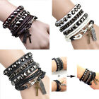 1set Men Punk Rock Multi-layer PU Leather Cuff Bracelet Wristband Adjustable