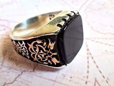 Turkish Ottoman Tughra Black Onyx 925 K Sterling Silver Vintage Mens Ring S1