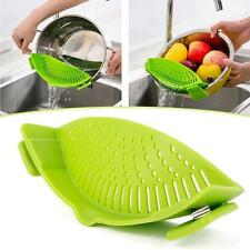 Kitchen Pan Strainer SNAP'N STRAIN Clip-on Silicone Pasta Food Draining Liquid