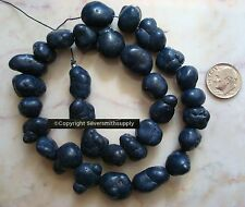 """Nugget beads navy blue dyed magnesite irregular baroque shaped 14"""" 12-16mm bs012"""