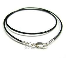 Sterling Silver Genuine Greek Leather cord 1mm Necklace Variable Length Color