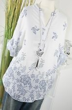 ITALY MODA Bluse FLOWER Stitched Ornament Tunkia Hemd Shirt WEISS L XL 40 42 Top
