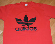 RaRe *1980's ADIDAS TREFOIL* vintage red t-shirt (XL) 50/50 Nike Hip-Hop RUN DMC