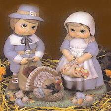 Ceramic Bisque Ready to Paint Pilgrim Boy and Girl with Turkey & Base