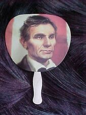 Vintage Young Abe Lincoln Paper Hand Fan with Wooden Handle