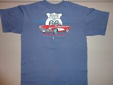 Blue Route 66 Hot rod Car Club Graphic T Shirt Adult L Free Shipping US