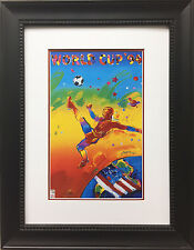 "Peter Max ""World Cup 94'"" CUSTOM FRAMED Print Art POP psychedelic Soccer Futball"