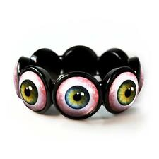 Human Eyeball Taxidermy Eye Horror Halloween Glass Black Bangle Charm Bracelet