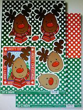 Craftstyle - 2 Hojas Pack-Decoupage & sentimientos-Rudolph-Excelente Para Niños
