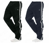 MENS NEW STRIPED JOGGING TRACK SUIT BOTTOMS SWEAT PANTS LOUNGE WEAR SHINY FABRIC