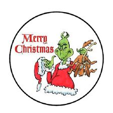"""48 Merry Christmas Grinch!!!  ENVELOPE SEALS LABELS STICKERS 1.2"""" ROUND"""